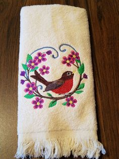 Robin Embroidered Tea Towel by MillineryMary on Etsy