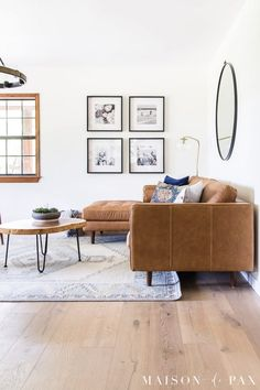 Wondering how to decorate your brown leather sofa? Don't miss these decorating ideas to help your leather couches look amazing! #leathercouch #leatherfurniture Living Room Chairs, Brown Living Room, Tan Leather Couch Living Room, Farm House Living Room, Small Living Room Decor, Living Room Leather, Leather Living Room Furniture, Rugs In Living Room, Leather Couches Living Room