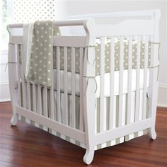 Taupe and White Dots and Stripes Three-piece Portable Crib Bedding Set | Carousel Designs