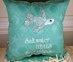 By the Seashore coasual coastal decor shop, Embroidered Sea Turtle Pillow - Saltwater Heals Everything - Beach Decor - Customizable