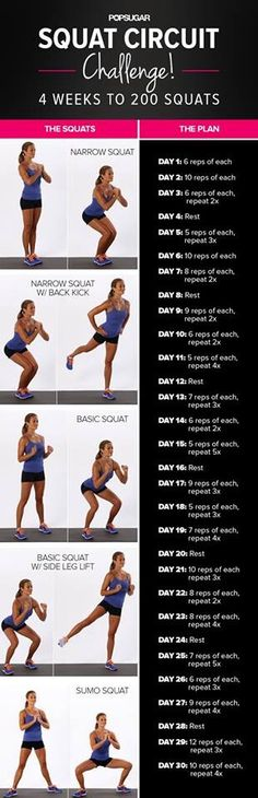 These various squats are amazing i have been following this 30 day challenge and mixing it up with using my treadmill,doing zumba,the eliptical,and walking laps