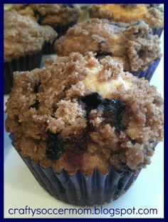 Crafty Soccer Mom: Blueberry Muffins w/ Cinnamon Sugar Streusel Topping SUPER GOOD! WE LOVED THESE MUFFINS. Next time make only half the amount of streusel, when following the directions I completly covered each muffin and still had quite a bit left over.