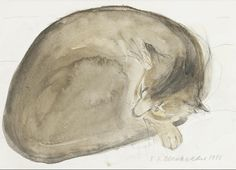 Abyssinian Cat Asleep | watercolor painting, 1985 | Elizabeth Blackadder