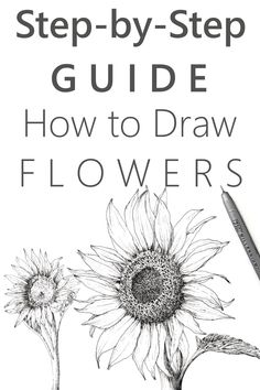 Learn how to draw your favorite flower. Tutorial for beginners and advanced artists for drawing with pen and ink. Learn how to draw your favorite flower. Tutorial for beginners and advanced artists for drawing with pen and ink. Easy Drawing Tutorial, Flower Drawing Tutorials, Art Tutorials, Flower Tutorial, Painting Tutorials, Pencil Art Drawings, Art Drawings Sketches, Easy Drawings, Pencil Sketches Of Nature