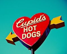 Cupid's Hot Dogs Vintage Heart Sign Vintage by RetroRoadsidePhoto