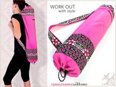 Yoga Mat Sling Bag in PUL with Renaissance Ribbons
