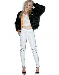 #DollsKill #white #zipper #jeans #bomberjacket #fashionphotography #styleinspo #lookbook #photoshoot