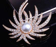 European Style Luxury Wedding Brooches For Women Starfish Shape Rhinestone Brooch Collar Pin for Scarf Corsage Fashion Jewelry(China (Mainland))