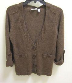 Relativity Brown Long Sleeve  Button Up Cardigan Sweater Womens Size Medium Top #Relativity #VNeckButtonUpSweater
