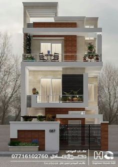 12 Unique Modern House Architecture Style - We seek happiness 3 Storey House Design, Townhouse Designs, Bungalow House Design, House Front Design, Narrow House Designs, Modern Small House Design, Minimalist House Design, Modern House Facades, Modern House Plans