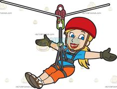 A Confident Woman Zip Lining: A woman with blonde hair in a ponytail wearing a red helmet blue shirt orange pants white with brown shoes gray gloves smiles in delight as she extends her arms sideways while zip lining Travel Clipart, Grey Gloves, Orange Pants, Confident Woman, Brown Shoe, Caricature, Confidence, Helmet, Arms