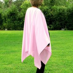Pale Pink Delicate Lightweight Knit Shawl, Wrap, Beach Coverup, Cape, Kimono or Ruana--Smooth and Comfy--One Size Fits Most Gypsies by YoungbearDesigns on Etsy