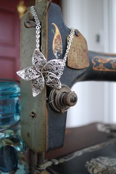 "Spoon Necklace: ""English Lace Flower"" by Silver Spoon Jewelry"