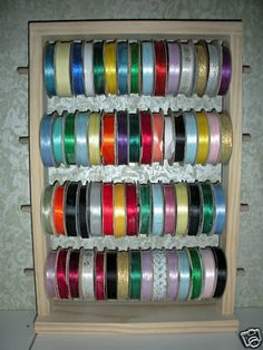 Counter 50 Spool Wooden Ribbon Holder Ribbon van HandyHarry op Etsy