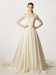 Beading Long Sleeves Princess Chapel/Church Wedding Dress at nextdress.co.uk