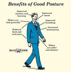benefits of good posture businessman walking illustration