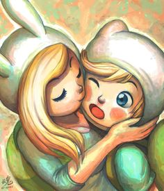 Finn and Fionna - Adventure Time I don't like mixing the worlds but this is to cute