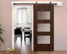 Superior Barn Door With 3 Glass Panels