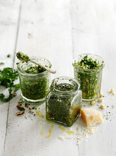 pesto - I use pine nuts/pignoli nuts, fresh basil, extra virgin olive oil, and Parmesan cheese. Freeze most in  ice cube trays then place in baggies to use during  winter