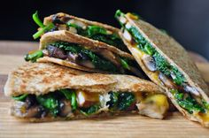 Spinach and mushroom quesadillas on whole wheat tortillas@Cooking with Michele