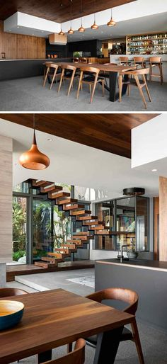 maison-moderne-contemporain-cuisine-salle-à-manger-escalier-en-bois-meubles-en-bois