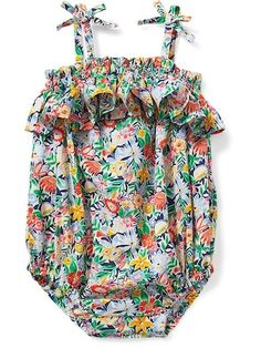 Ruffle-Trim Bubble Romper for Baby