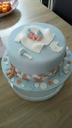 Baby shower cake - New Deko Sites Torta Baby Shower, Baby Shower Pasta, Baby Shower Cakes For Boys, Baby Boy Cakes, Shower Baby, Gateau Baby Shower Garcon, Baby Shower Cake Designs, Baby Cake Topper, Baby Birthday Cakes