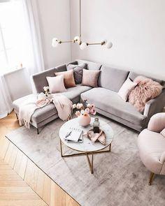 Blush Pink Living Room, Boho Living Room, Living Room Grey, Living Room Interior, Pink Room, Living Room Ideas Pink And Grey, Grey Carpet Living Room, Glamour Living Room, Pastel Living Room