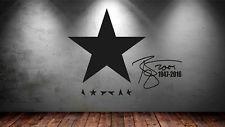 David Bowie Celebrity Wall Sticker / Art Vinyl Blackstar 1947-2016 Autograph