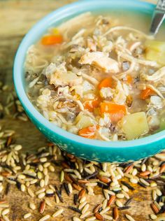 This Instant Pot Chicken & Wild Rice Soup is a simple, non-dairy chicken broth based soup that is loaded with wild rice and vegetable goodness!