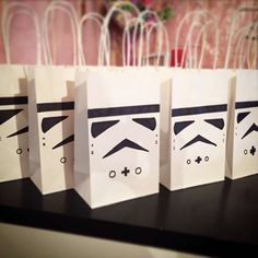 Stormtrooper favor bags at a LEGO Star Wars birthday party! See more party ideas at CatchMyParty.com!