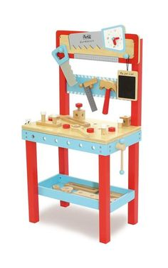 Kids wooden toys from Indigo Jamm are tons of fun and delightfully built to last for hours of imaginative, creative play. This Little Carpenters Bench is no different with 25 pieces that can be hammered, screwed and bolted. Educational Toys For Kids, Kids Toys, Wooden Work Bench, Work Benches, Teaching Clock, Carpenter Work, Indigo, Tool Bench, Screws And Bolts