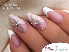 46 New Ideas Nails Sencillas Frances Pies Natural Wedding Nails, Simple Wedding Nails, Wedding Nails Design, Heavenly Nails, Classic Nails, Bride Nails, French Tip Nails, Nail Art Hacks, Flower Nails