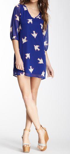 Bird print dress. Maybe with leggings...