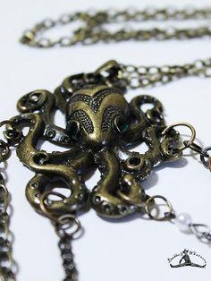 """Unique 24"""" Long Vintage Gold Octopus Necklace - OOAK"""