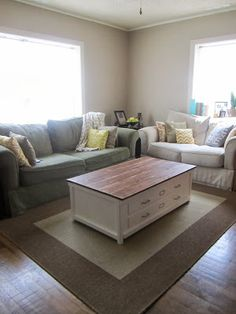 coffee table- like this color combo - could repaint my tables white and add a dark stained plywood top over both of them...