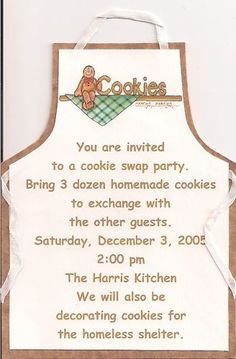 Christmas Cookie Swap Invitation - This would be a great idea for friends from different neighborhoods to make neighbor treat plates. Many variations - doesn't have to be at Christmas! Cookie Exchange Party, Christmas Cookie Exchange, Christmas Goodies, Christmas Snacks, Xmas Food, Christmas Christmas, Christmas Recipes, Christmas Themes, Christmas Crafts