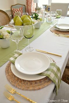 Pear green and white tablescape