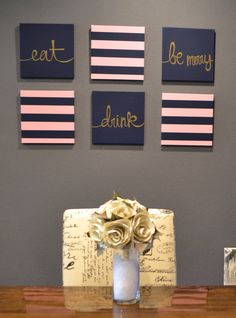 Items similar to Eat Drink & Be Merry Navy and Pink Stripes Wall Art Pack of 6 Canvas Wall Hangings Hand Painted Horizontal Stripes Dining Room Decor Modern on Etsy Blue Canvas, Diy Canvas, Canvas Wall Art, Pink Striped Walls, Pink Stripes, Creation Deco, Wall Decor, Room Decor, Home And Deco
