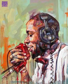 Portait of Yasiin Bey aka Μos Def  portrait   character design   Original artwork painted with acrylics on canvas. 100x80 cm