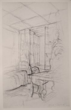 Giacometti - a 2 pt. perspective drawing of a room interior Gesture Drawing, Line Drawing, Painting & Drawing, Basic Drawing, Perspective Room, Perspective Drawing, Alberto Giacometti, Michelangelo Caravaggio, Drawing Exercises