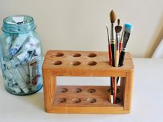 Vintage Wooden Test Tube Holder, Paint Brush Holder, Chemistry Set, Rustic Plant Holder, Handmade Test Tube Stand, Industrial Decor by TheWildPlum on Etsy