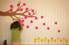 Flower wall display - flower-shaped sticky notes maybe add a picture of the children in your class?