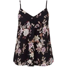 Miss Selfridge Petites Floral Lace Cami Top ($28) ❤ liked on Polyvore featuring tops, shirts, black, petite, petite shirts, lace trim camisole, lace trim shirt, lace camisole and petite tops