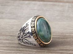 925K Sterling Silver Gemstone Man Ring With Agate Stone (All Sizes) #IstanbulJewellery #Statement: