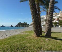 Playa Puerta del Mar, Arena Palmeras Paseo y Peñones. Almuñécar, Costa Tropical de Granada. www.guiadealmunecar.com