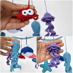 Crochet Baby Mobile Sea Creatures Crib MobileFish от CrochetRedCat