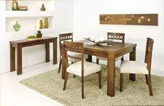 mesa de jantar 4 cadeiras retangular com cadeiras estampadas e aparador