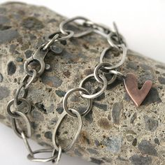 Handmade Sterling Silver Chain Heart Tag Bracelet by SToNZ