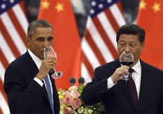 President Barack Obama, left, and Chinese President Xi Jinping drink a toast at a lunch banquet in the Great Hall of the People in Beijing Wednesday, Nov. Barack Obama, Donald Trump, Environmental News, Obama Administration, Wuhan, Beijing, Climate Change, Politics, United States
